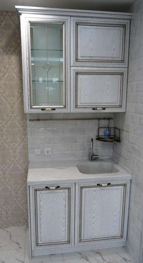 Белый кухонный гарнитур-Кухня МДФ в ПВХ «Модель 515»-фото3