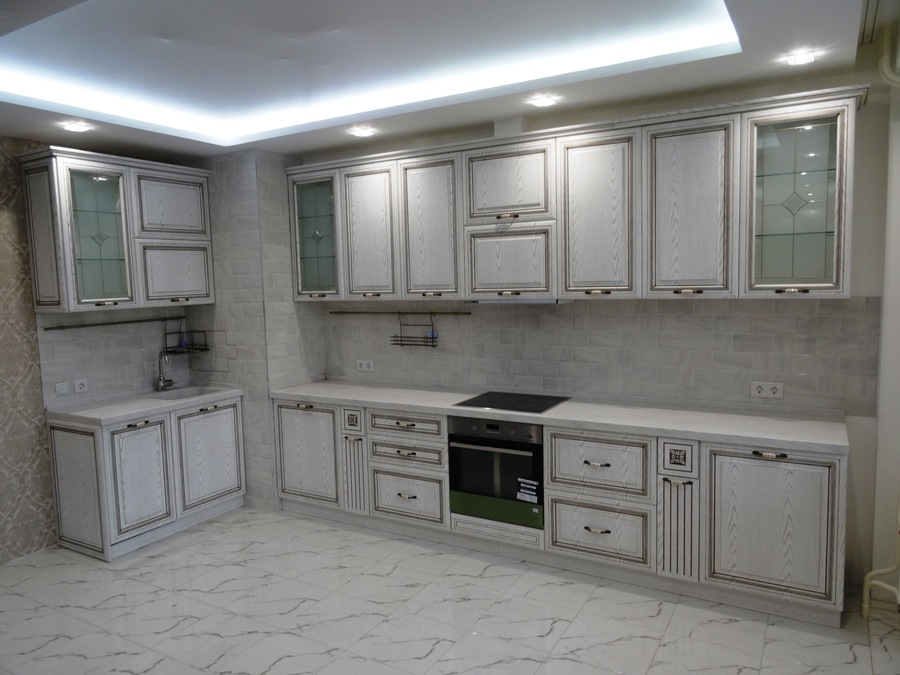 Белый кухонный гарнитур-Кухня МДФ в ПВХ «Модель 515»-фото1