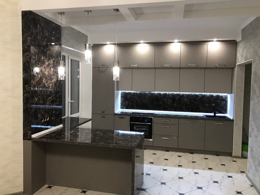 Встроенная кухня-Кухня МДФ в эмали «Модель 418»-фото1