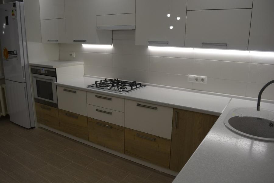 Белый кухонный гарнитур-Кухня из пластика «Модель 459»-фото4