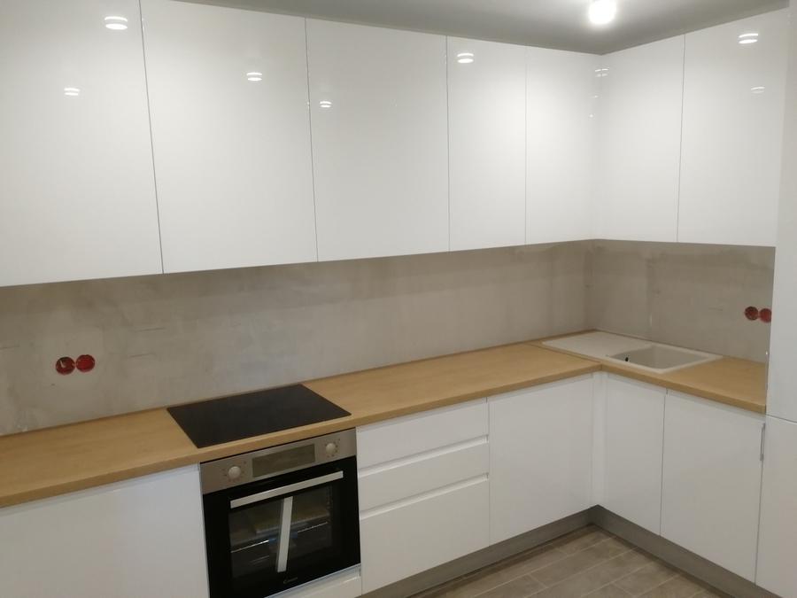 Белый кухонный гарнитур-Кухня МДФ в эмали «Модель 433»-фото2