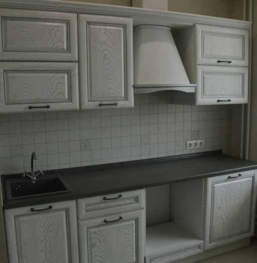 Белый кухонный гарнитур-Кухня их массива «Модель 427»-фото3