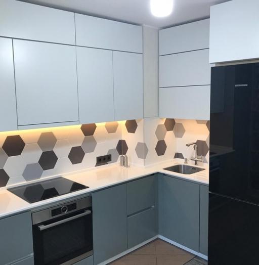 Белый кухонный гарнитур-Кухня МДФ в эмали «Модель 445»-фото7