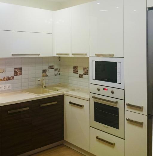 Белый кухонный гарнитур-Кухня из акрила «Модель 287»-фото3